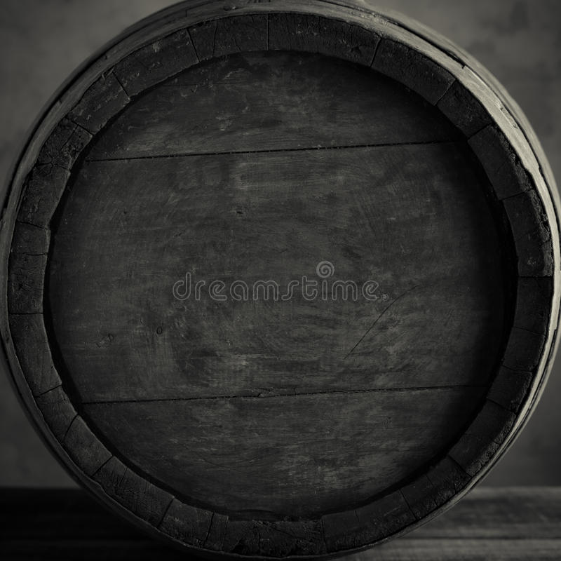 Wine barrel. Old wine barrel in black and white stock image