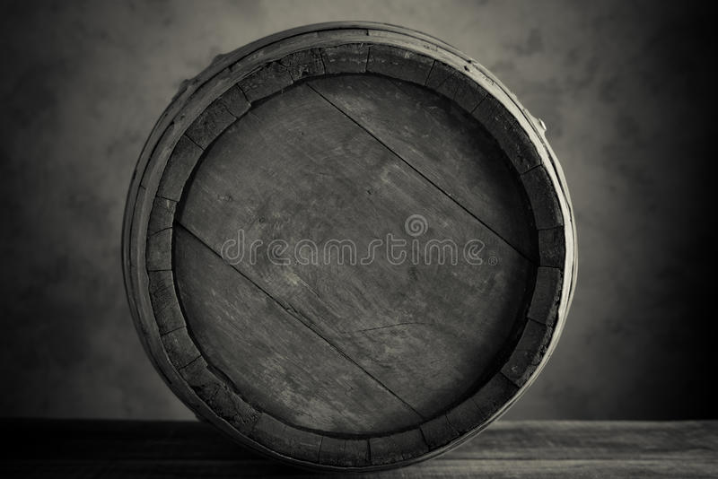 Wine barrel. Old wine barrel in black and white royalty free stock photography