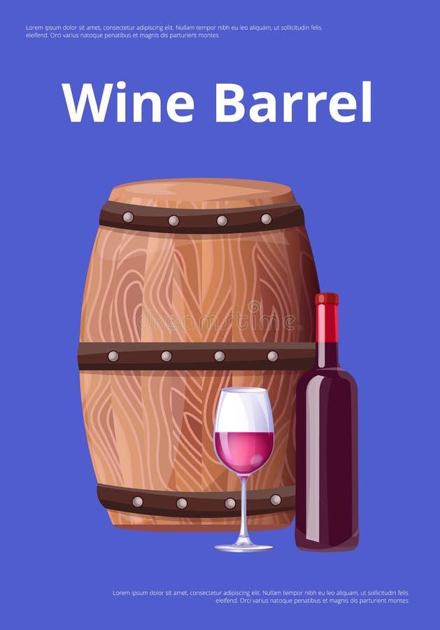Wine Barrel Poster Bottle Burgundy Wine and Glass royalty free illustration