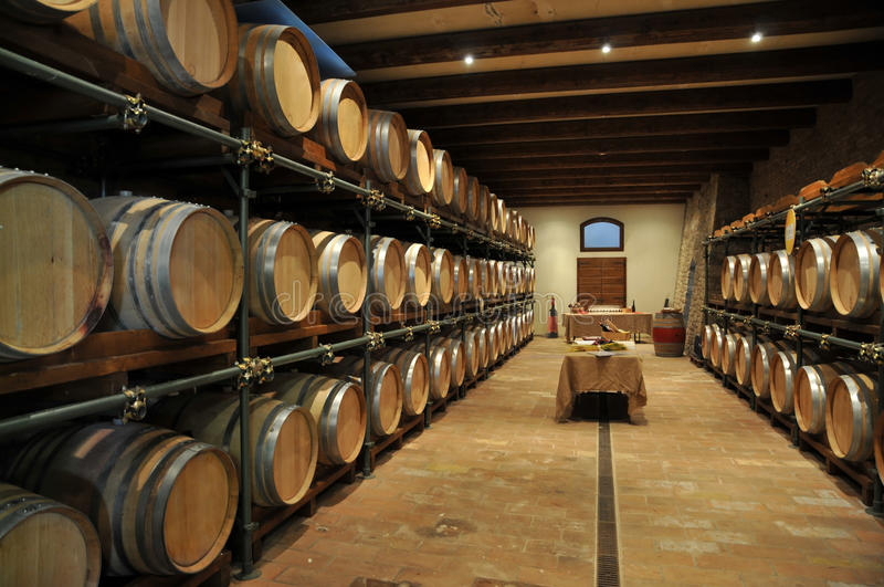 Wine barrel rack. At a cellar (Italy, Chianti stock images