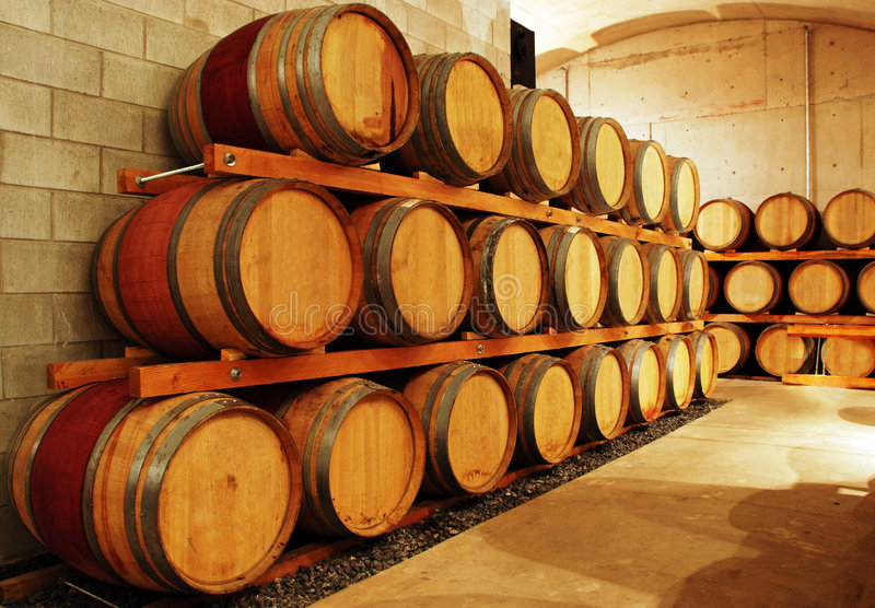 Wine barrel storage area. In an old cellar royalty free stock images