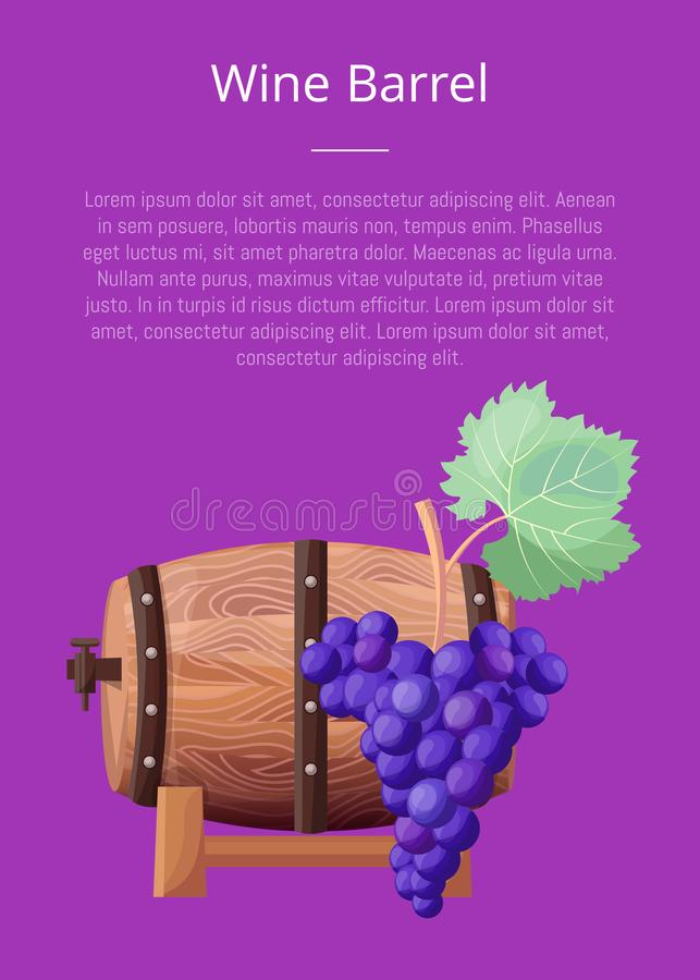 Wine Barrel, Text and Title Vector Illustration stock illustration