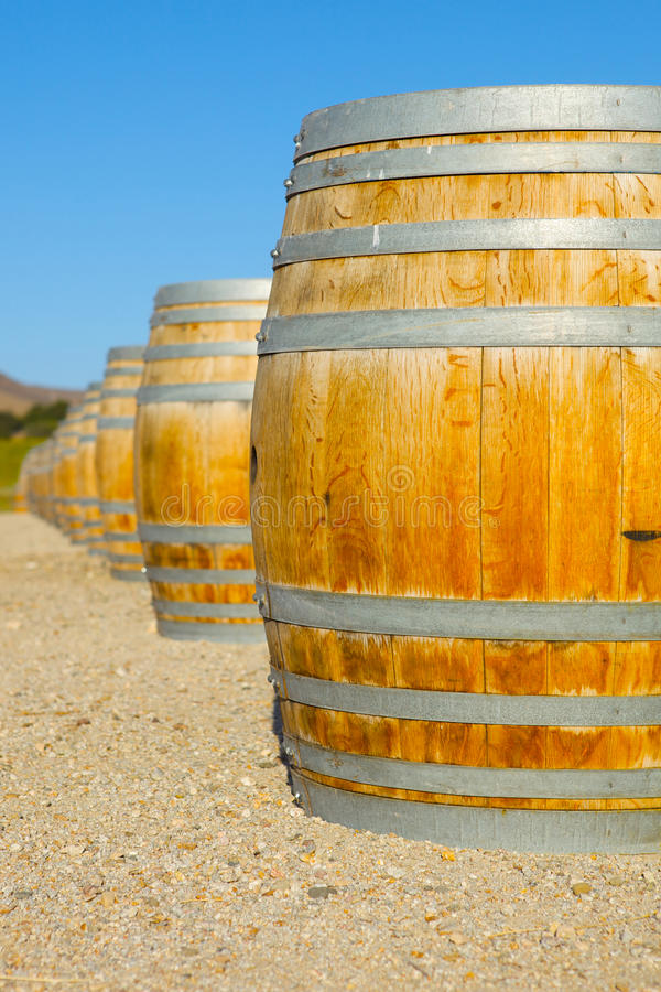 Wine Barrel at a Vinyard. A Wine Barrel at a Vineyard With Flowers royalty free stock image