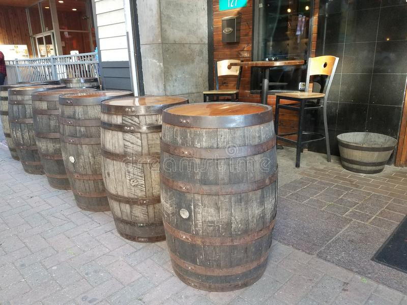 Wine barrel. Restaurant front photo royalty free stock images