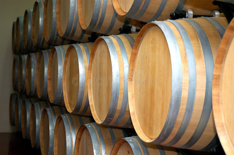 Wine Barrels. Barrels of wine in row. Wine factory stock image