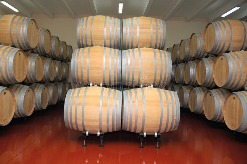 Wine Barrels 3. Barells of wine in row. Wine factory stock photos