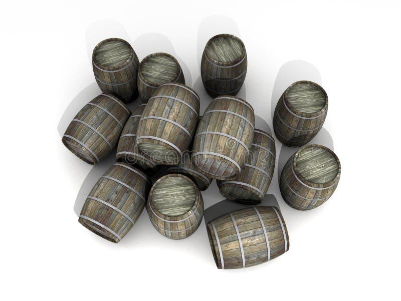 Wine barrels stock illustration
