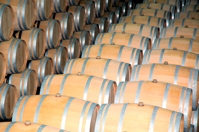 Wine Barrels 4. Barells of wine in row. Wine factory stock photo