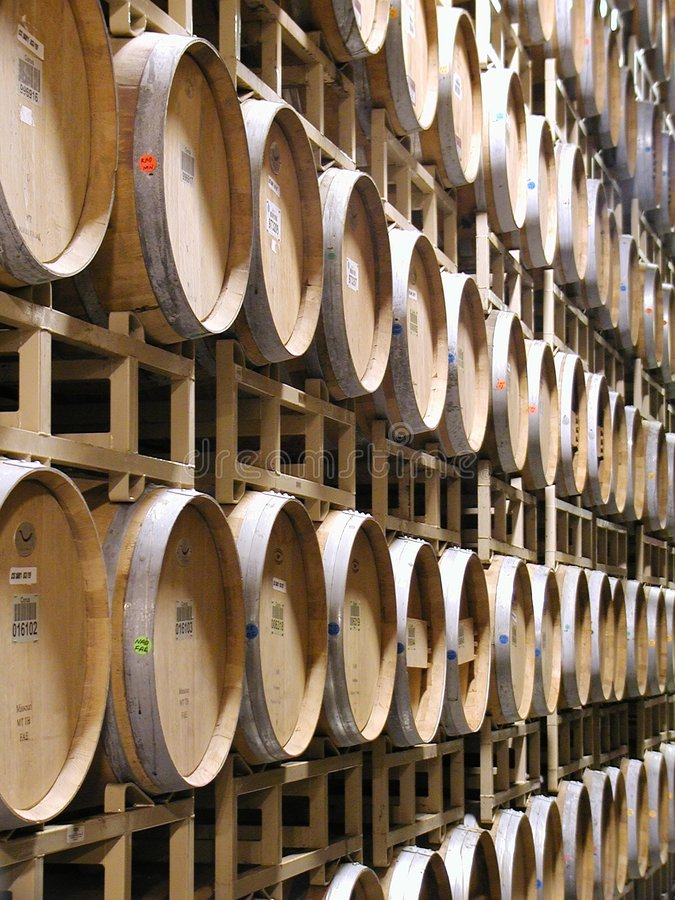 Wine Barrels. Stacked for aging new wine