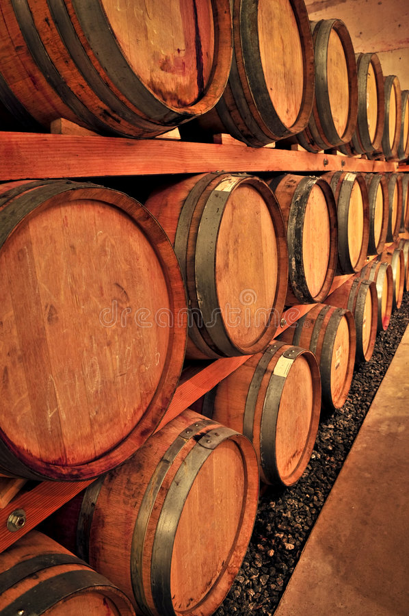 Wine barrels. Stacked oak wine barrels in winery cellar royalty free stock photos