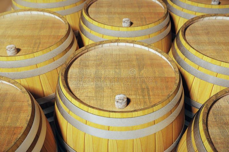 Wine barrels closeup. Close up of wooden wine barrels in winery. 3D Render royalty free illustration