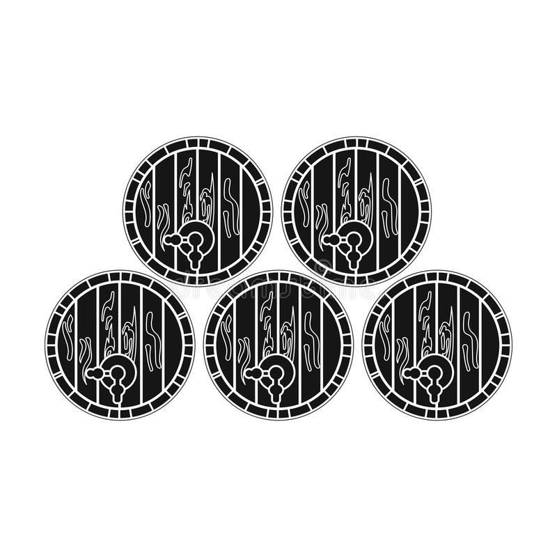 Wine barrels icon in black style isolated on white background. Wine production symbol. Wine barrels icon in black design isolated on white background. Wine vector illustration