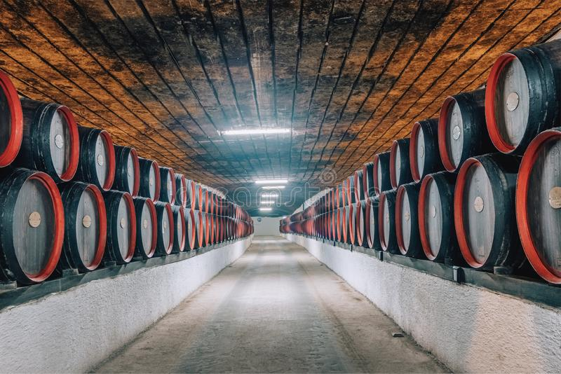 Wine barrels inside the undeground tunnels of a famouse Cricova winery in Moldova royalty free stock images