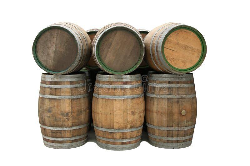 Wine barrels isolated stock photography