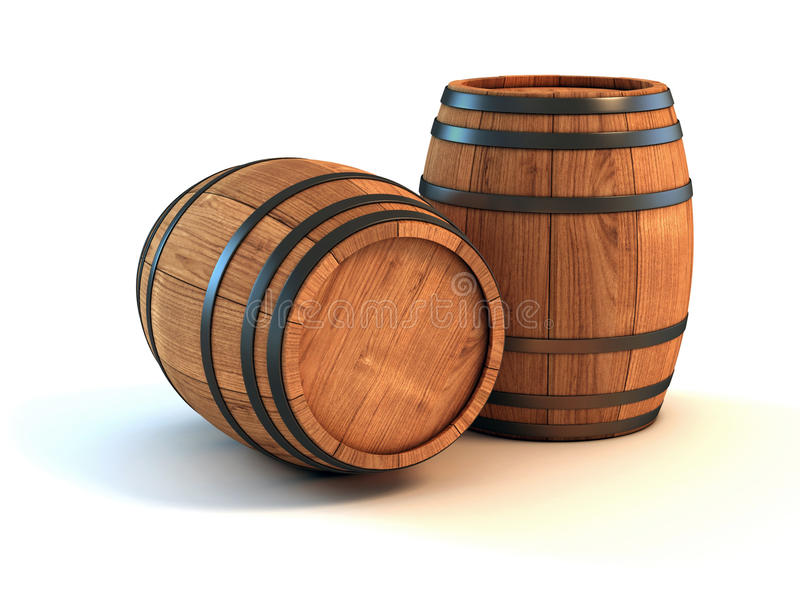 Wine barrels over white background stock illustration
