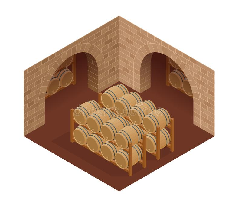 Wine barrels stacked in the old cellar of the winery. Isometric vector illustration.  royalty free illustration