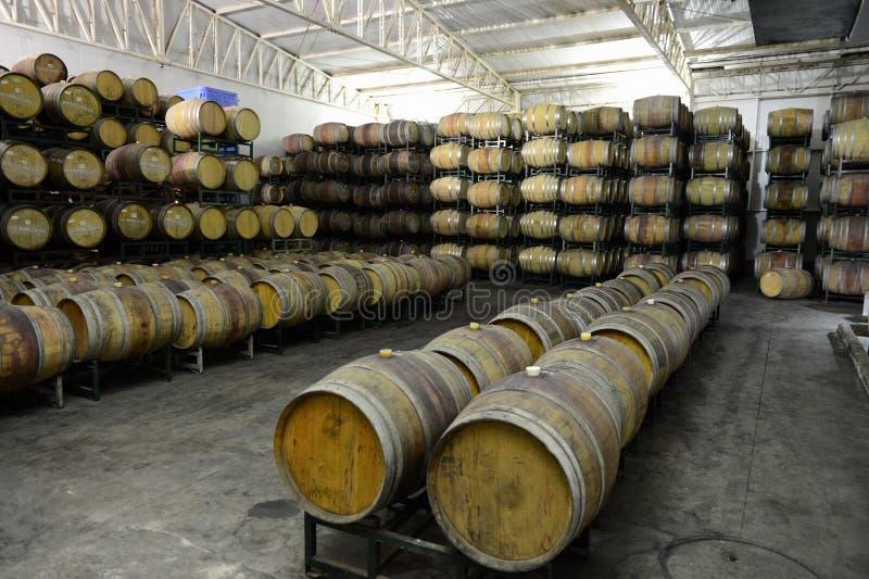 Wine barrels at the winery Viu Manent. COLCHAGUA VALLEY, CHILE - NOVEMBER 26,2014:Wine barrels at the winery Viu Manent stock image