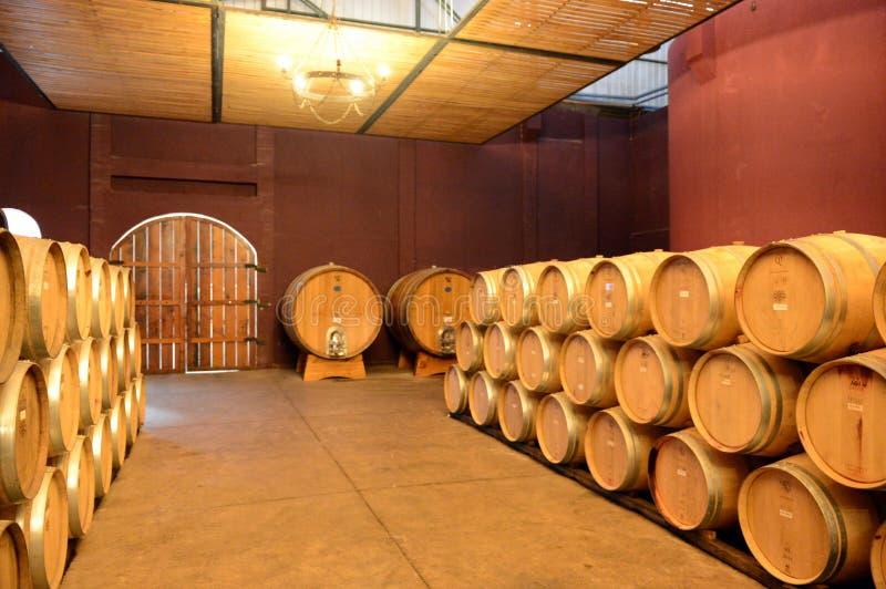 Wine barrels at the winery Viu Manent. COLCHAGUA VALLEY, CHILE - NOVEMBER 26,2014:Wine barrels at the winery Viu Manent stock images