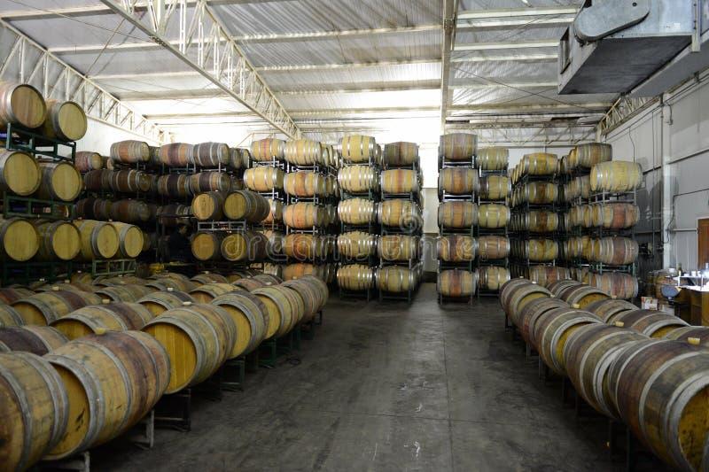 Wine barrels at the winery Viu Manent. COLCHAGUA VALLEY, CHILE - NOVEMBER 26, 2014:Wine barrels at the winery Viu Manent stock photography