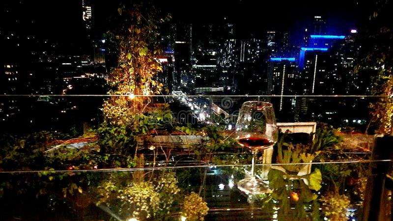 A wine and a beautiful scene stock photo