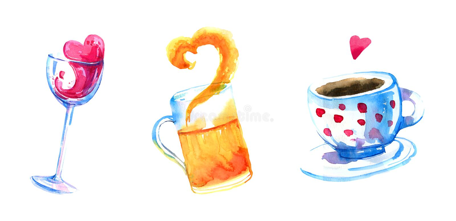 Wine, beer and coffee hand drawn watercolor set for posters and cards stock illustration