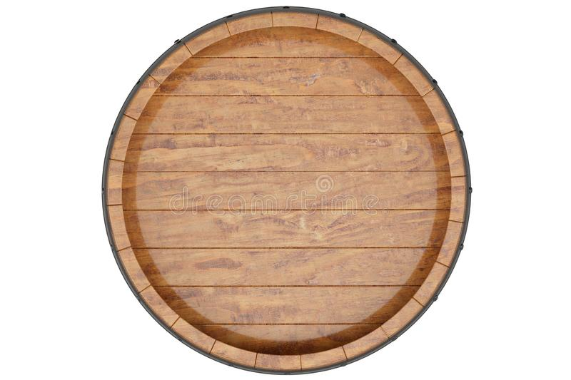 Wine, beer, whiskey, wooden barrel top view of isolation on a white background. 3d illustration royalty free stock image