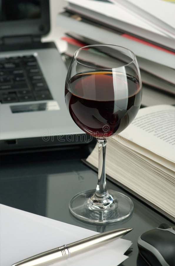 Wine And Books Royalty Free Stock Images