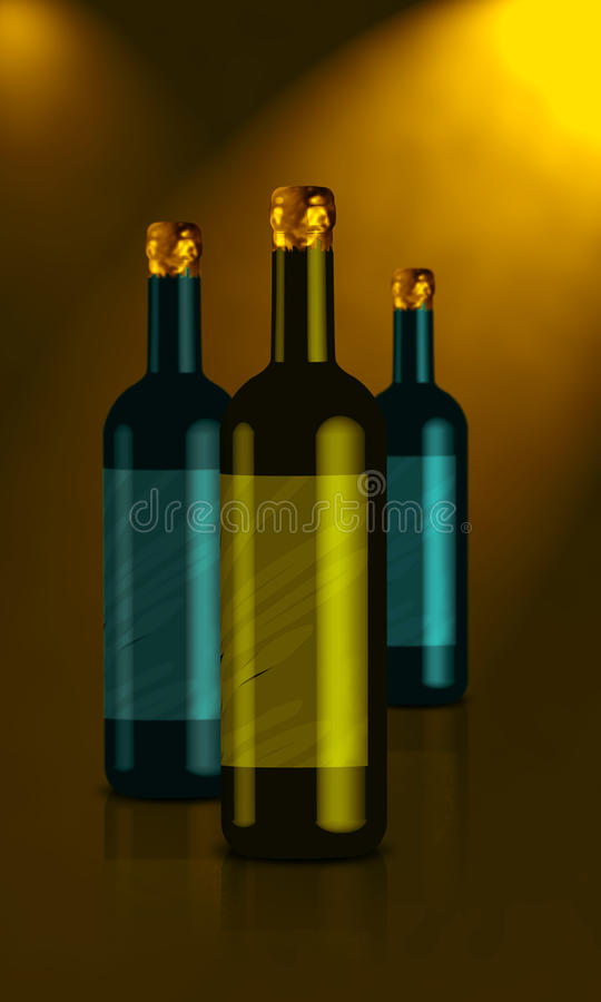 Wine Bottle. Made with the help of 2 software Adobe Illustrator and Adobe Photoshop stock illustration