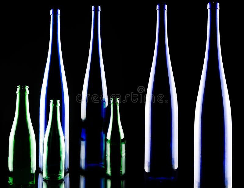 Wine bottle. On a black background stock photo