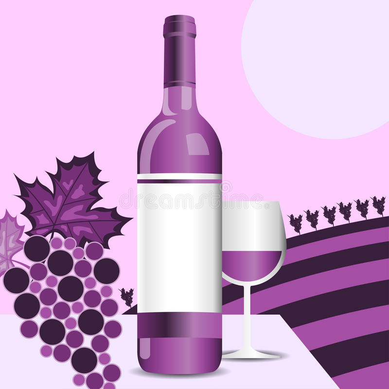 Download Wine bottle stock vector. Image of purple, winery, grapes - 20261176