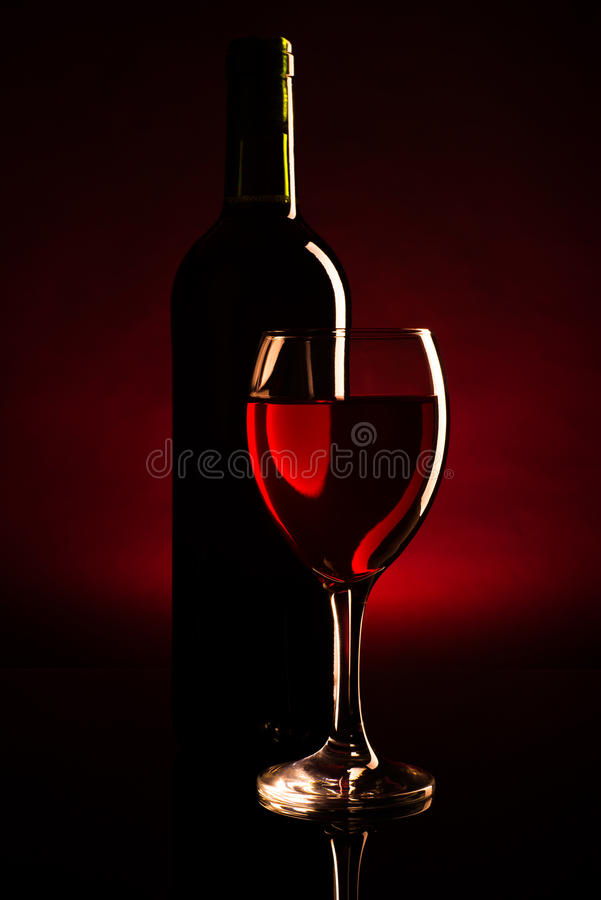 Free Wine Bottle And Glass Silhouette Over Dark Red Royalty Free Stock Images - 36367689