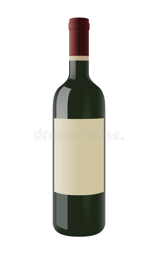 Wine bottle with a blank label royalty free illustration