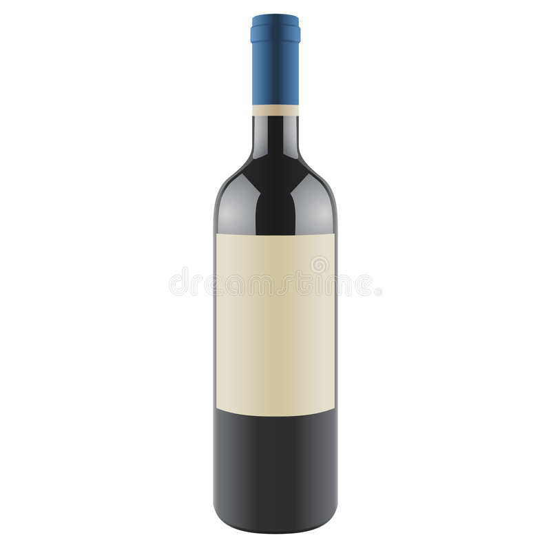 Wine bottle with a blank label, vector vector illustration
