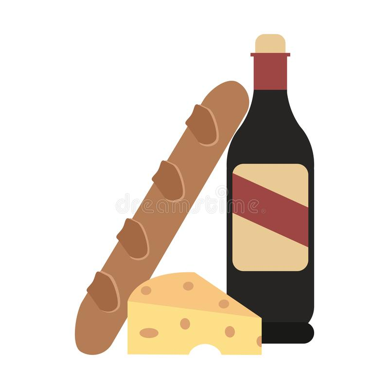 Wine bottle and bread with cheese stock illustration