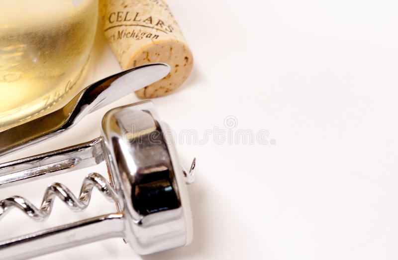 Wine Bottle, Cork And Corkscrew Royalty Free Stock Photography