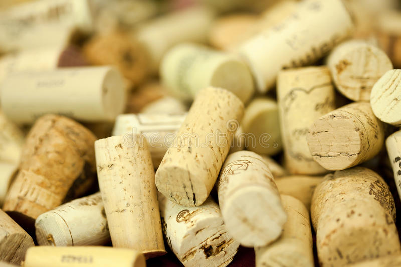 Wine bottle corks. A collection of wine bottle corks stock images