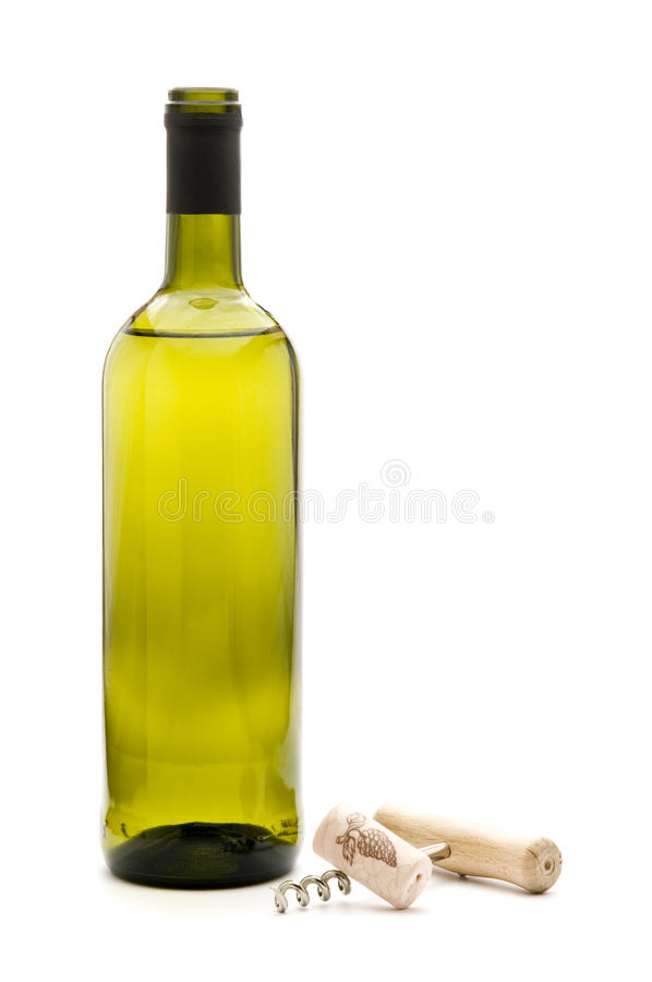 wine bottle and corkscrew stock photography