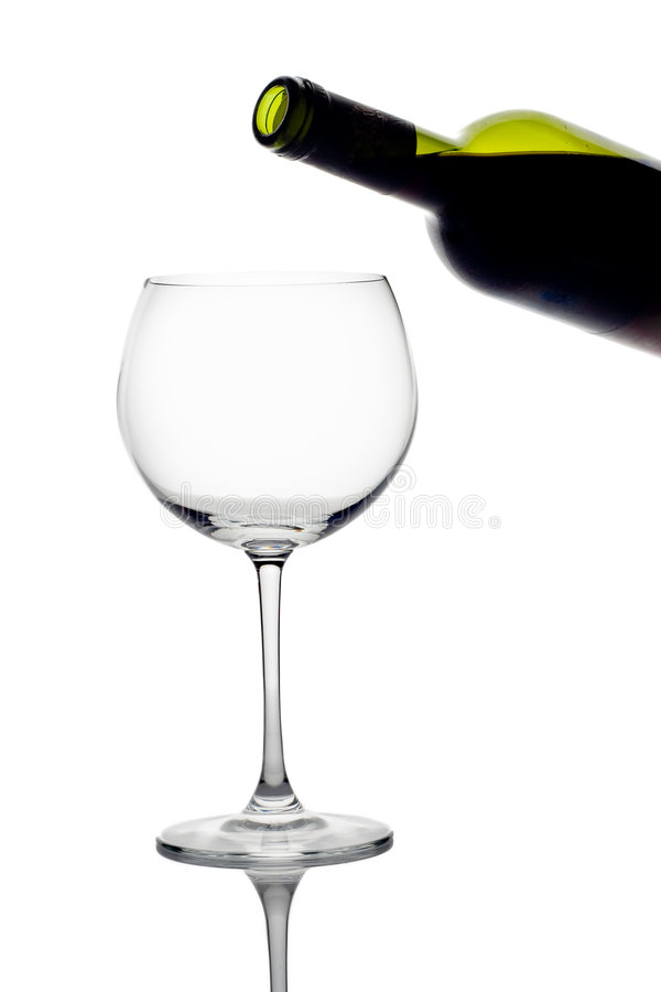 Download Wine Bottle And An Empty Glass Stock Photo - Image: 1388282