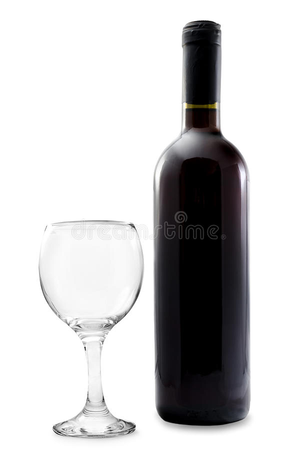 Wine bottle with empty glass. Unlabeled wine bottle with empty glass isolated on perfect white background stock photos