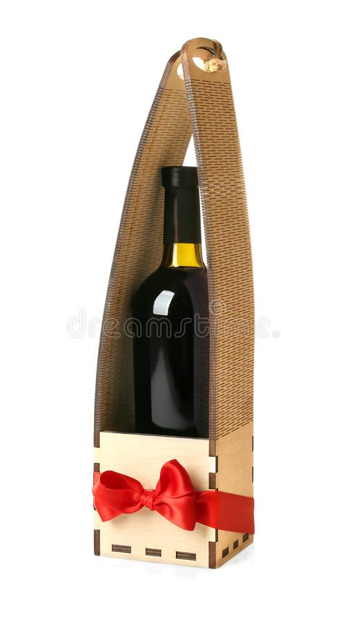 Wine bottle in gift box stock images