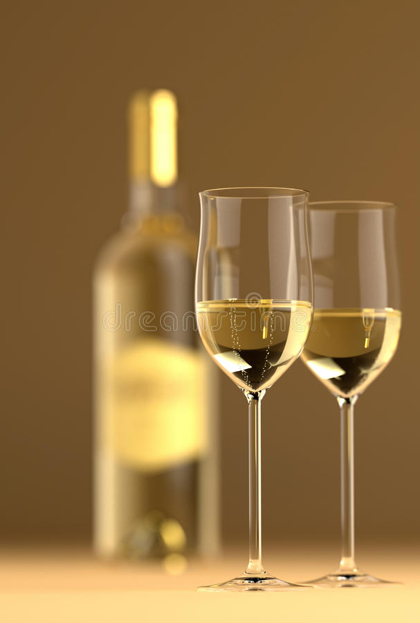 Wine Bottle with Glass royalty free stock photo