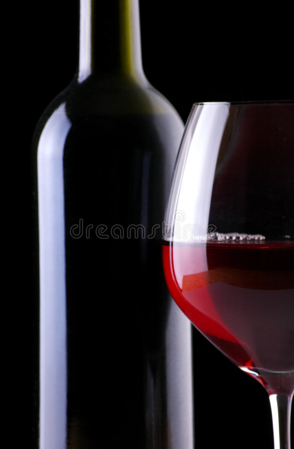 Download Wine Bottle And Glass On Black Stock Photo - Image: 4682358