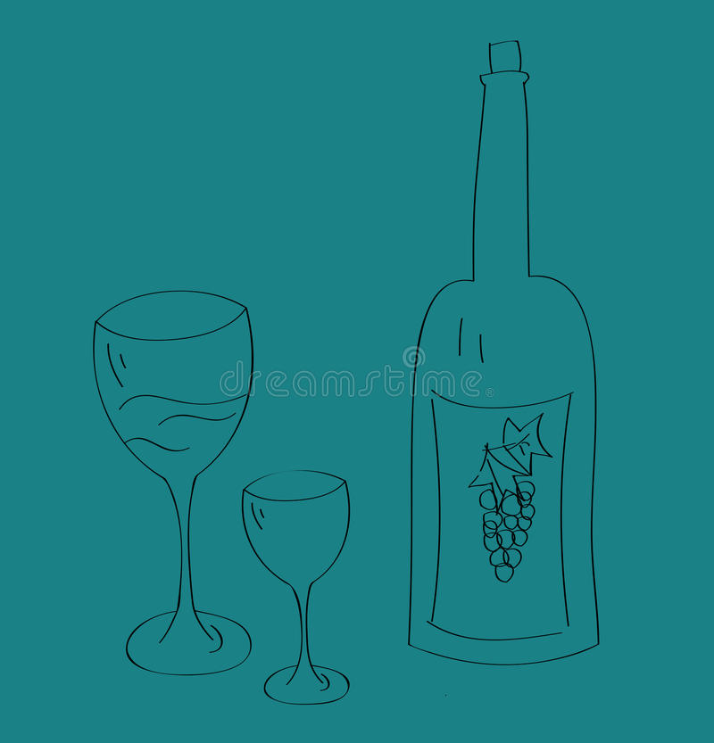 Download Wine bottle and glass cup stock vector. Image of booze - 23783292