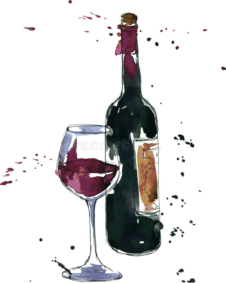 Wine bottle and glass royalty free illustration