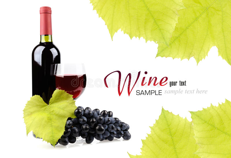 Wine Bottle, Glass And Grapes Royalty Free Stock Image