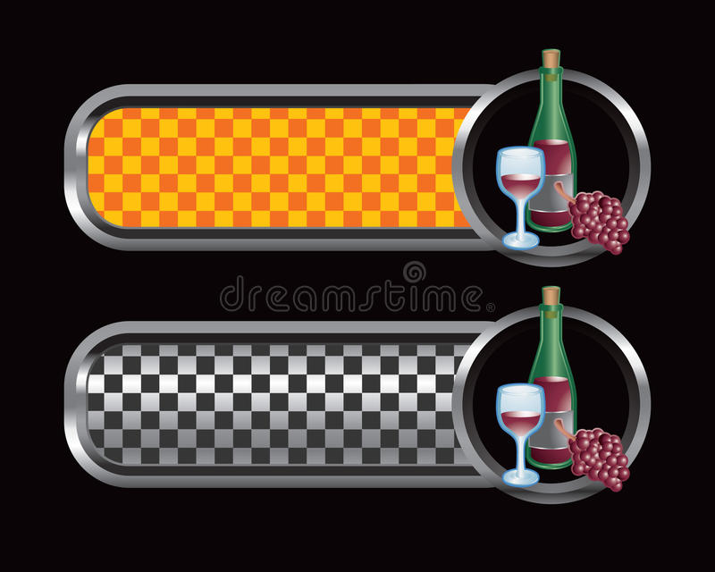 Wine bottle, glass, and grapes on checkered tabs stock illustration