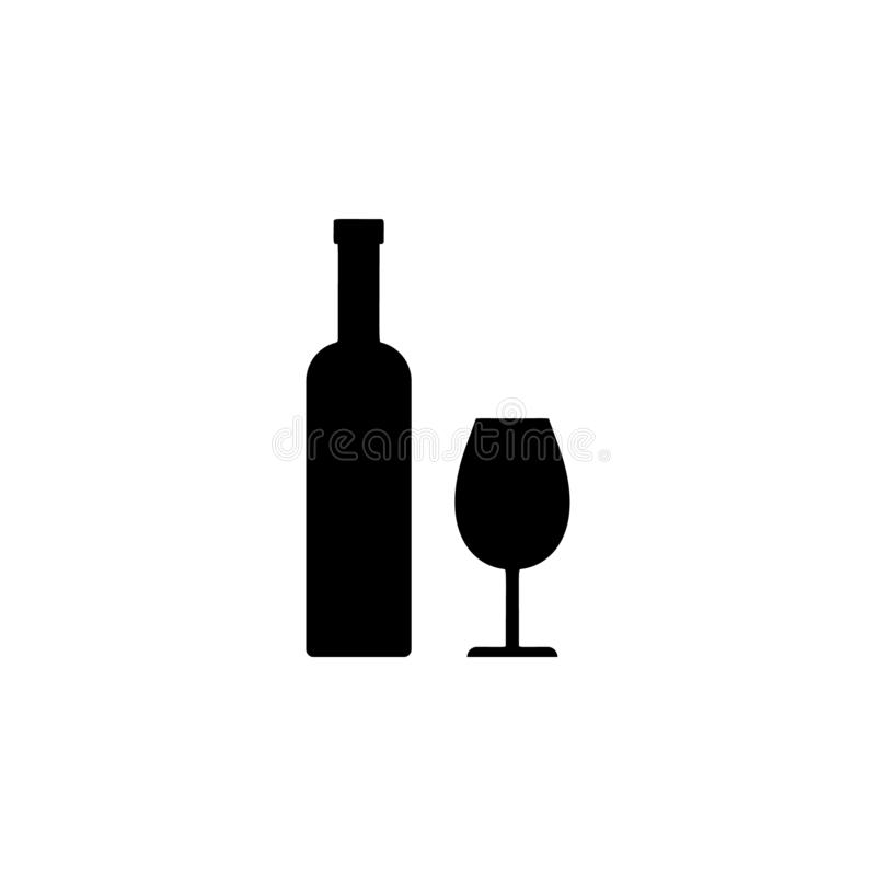 Wine, bottle, glass icon. Simple glyph vector of universal set icons for UI and UX, website or mobile application. On white background stock illustration