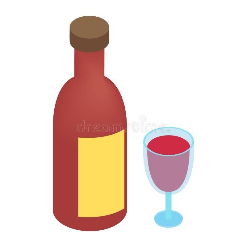 Wine bottle and glass isometric 3d. Icon. Single plain symbol on a white background stock illustration