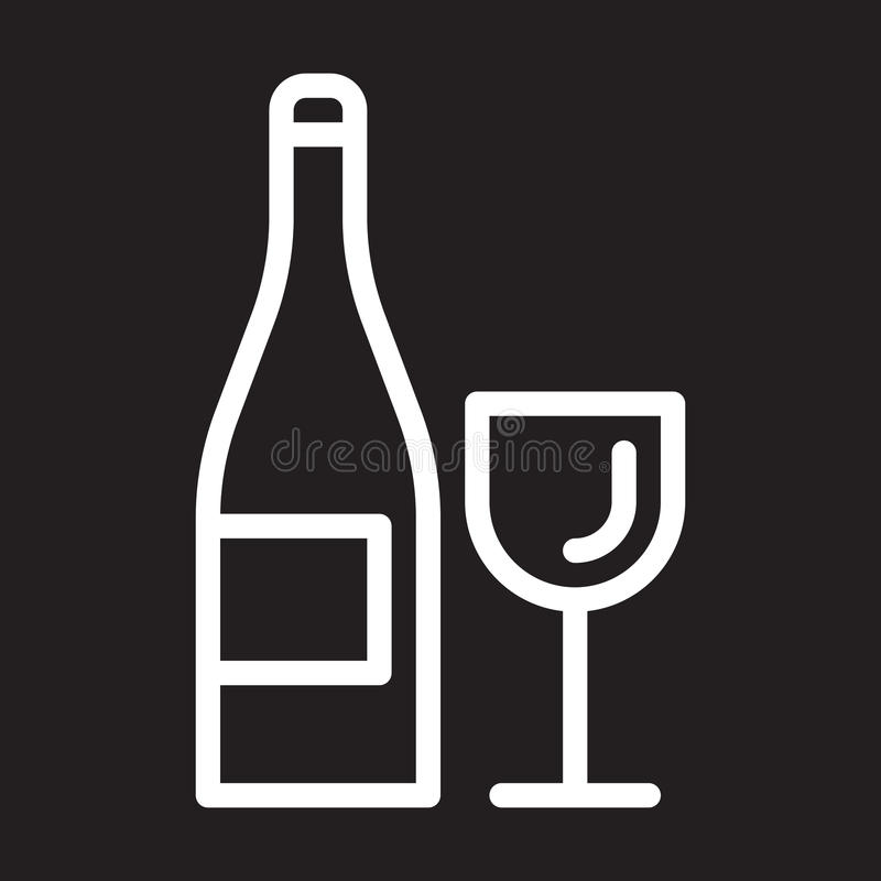 Wine bottle and glass line icon, white outline sign, vector illustration. Wine bottle and glass line icon, white outline sign, vector illustration vector illustration