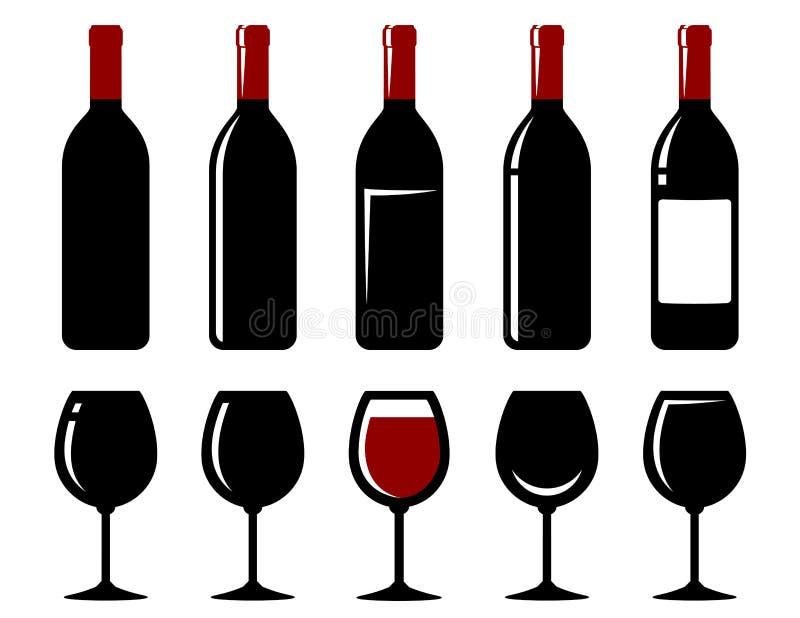 Wine bottle and glass set vector illustration